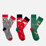 Joules Women's Cracking Sock 3 Pack - Red Multi Dogs