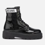 Tommy Jeans Women's Patent Leather Flatform Boots - Black