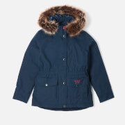 Barbour Girl's Abalone Detachable Hooded Jacket - Navy/Deep Pink