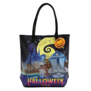 Loungefly Disney The Nightmare Before Christmas Halloween Town/Christmas Town 2 Sided Tote Bag
