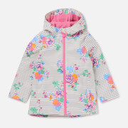 Joules Girls' Raindance Showerproof Rubber Coat - Cream Navy Floral