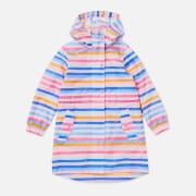 Joules Girls' Go Lightly Longline Rain Jacket - Cream Multi Stripe
