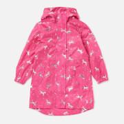 Joules Girls' Go Lightly Longline Rain Jacket - Pink Unicorn
