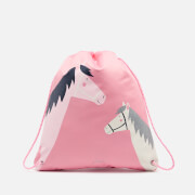 Joules Girls' Active Drawstring Bag - Pink Horses