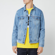Levi's Men's Trucker 90's Logo Text Back Denim Jacket - Blue