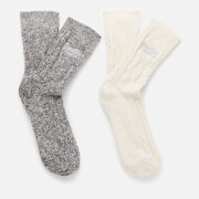 Superdry Women's Superdry Cable Sock 2 Pack - Charcoal/Cream