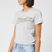 Superdry Women's V Logo Emb Outline Entry T-Shirt - Grey Marl