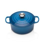 Le Creuset Signature Cast Iron Round Casserole Dish - 18cm - Marseille Blue