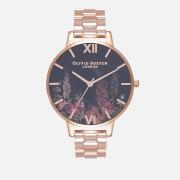 Olivia Burton Women's Dark Bouquet Watch - Rose Gold Bracelet