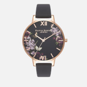 Olivia Burton Women's Enchanted Garden UK Exclusive Watch - Black/Rose Gold