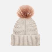 BKLYN Women's Oversized Hat - Oatmeal/Brown-Pink