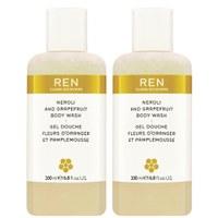 REN Neroli und Grapefruit Body Wash Duo (im Wert von £ 32.00) (400 ml)