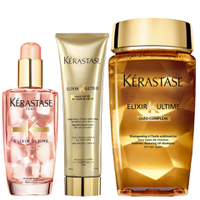 Kérastase Elixir Ultime Huile Lavante Bain 250ml, Crème Fine 150ml and Coloured Hair Oil 100ml Bundle