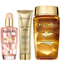 Kérastase Elixir Ultime Huile Lavante Bain Shampoo 250ml, Crème Fine 150ml and Haaröl für Gefärbtes Haar 100ml Set