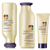 Pureology Perfect 4 Platinum Shampoo, Conditioner (250ml) and Reconstruct Repair for Blondes (200ml)