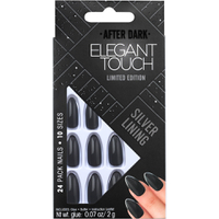 Elegant Touch Trend After Dark Nails - Grey Metallic/Tipped Stiletto/Silver Lining