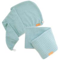 Aquis Dream Boat Blue Waffle Hair Turban + Dream Boat Blue Waffle Hair Towel Bundle