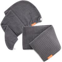 Aquis Moody Grey Waffle Hair Turban + Moody Grey Waffle Hair Towel Bundle