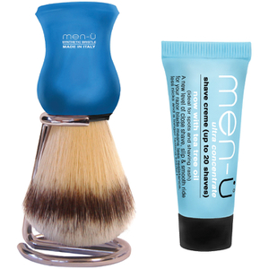 Men-ü DB Premier Shave Brush avec Support en Chrome - Bleu