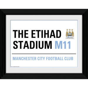 """Manchester City Street Sign - 16"""""""" x 12"""""""" Framed Photographic"""