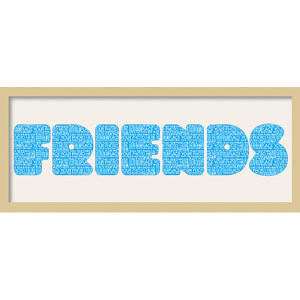 "GB Cream Mount Friends Fatty Font - Framed Mount - 12"""" x 30"""