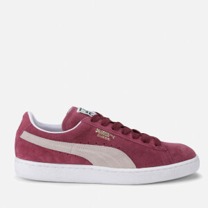 Puma Men's Basketball Suede Classic Low Top Trainers - Burgundy/White
