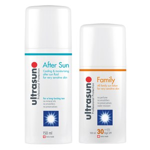 Ultrasun Family SPF 30 - Super Sensitive (100 ml) og Ultrasun Aftersun