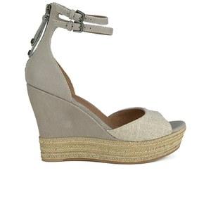 UGG Women's Devan Suede Wedged Sandals - Oyster