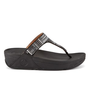 FitFlop Women's Aztek Chada Suede Toe Post Sandals - Black/Silver Stones