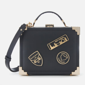 Aspinal of London Women's Mini Trunk Bag with Patches - Black