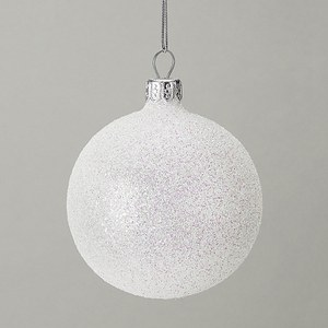 Gisela Graham Iridescent Glitter Bauble - White