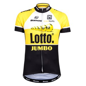 Santini Original Lotto Jumbo 15 Aero Short Sleeve Jersey - Yellow/Black