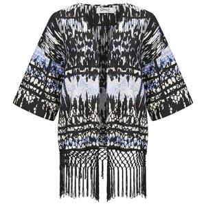 ONLY Women's Rory Tassel Kimono - Black/White/Blue