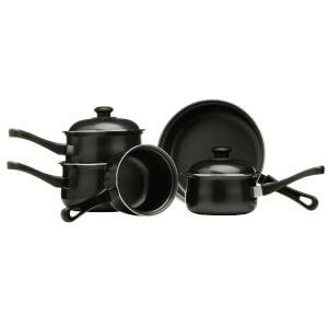 Premier Housewares 5 Piece Non Stick Carbon Steel Cookware Set - Black
