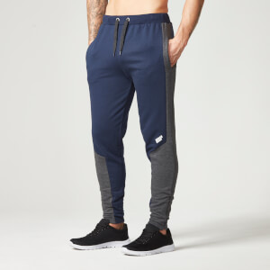 Spodnie z zamkiem Myprotein Men's Panelled Slimfit Sweatpants with Zip - kolor granatowy