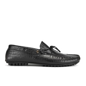 Hudson London Men's Felipe Leather Croc Slip On Loafers - Black