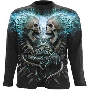 Spiral Men's FLAMING SPINE Long Sleeve T-Shirt - Black