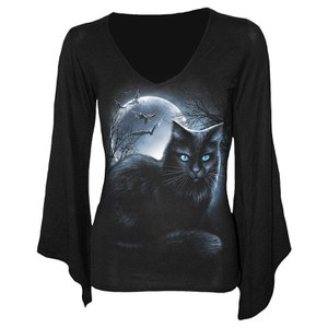 Spiral Women's MYSTICAL MOONLIGHT V Neck Goth Sleeve Top - Black
