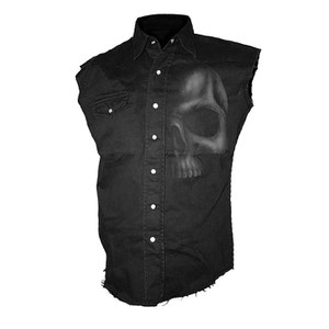 Spiral Men's SHADOW SKULL (GREY) Sleeveless Stone Washed Worker Shirt - Black