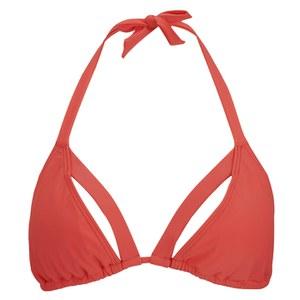 MINKPINK Women's Spliced Summer Double Strap Triangle Bikini - Nectarine