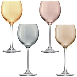 LSA Polka Metallics Wine Glasses - 400ml (Set of 4)