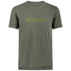 Santini L'Eroica Stretch Cotton T-Shirt - Olive Green