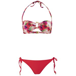 South Beach Women's Floral Bandeau Bikini - Pink