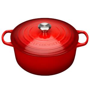 Le Creuset Signature Cast Iron Round Casserole Dish - 24cm - Cerise