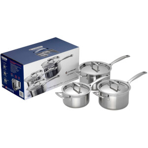 Le Creuset 3-Ply Stainless Steel 3 Piece Saucepan Set