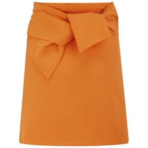 Lavish Alice Women's Tie Detail Mini Skirt - Tangerine Orange