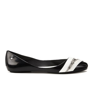 Karl Lagerfeld for Melissa Women's Trippy Zip Pointed Ballet Flats - Black Contrast
