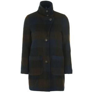 nümph Women's Checked Coat - Slate Black