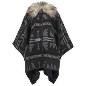 ONLY Women's Kiva Faux Fur Poncho - Dark Grey Melange