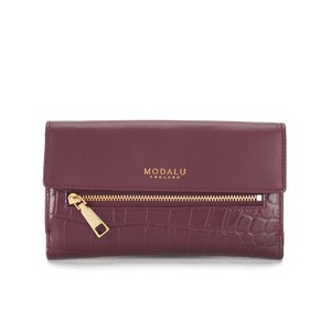 Modalu Women's Erin Crocodile Continental Purse - Claret Red